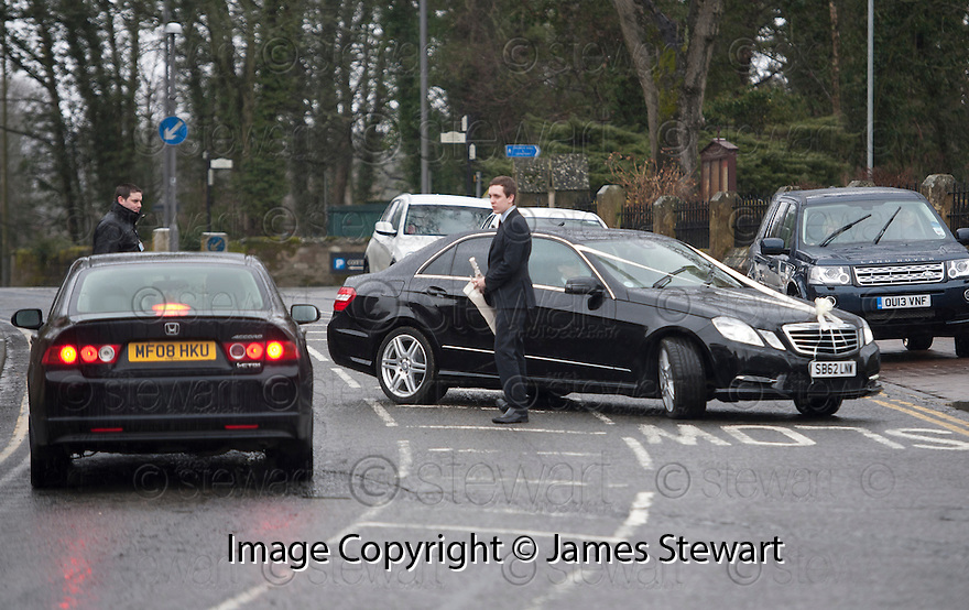 The wedding car makes the short distance across the road from the accommodation where the bride's wedding party were getting ready to the Brig O'Doon House Hotel, Alloway, for the wedding of Steven Naismith and Moya Jane Farrell.