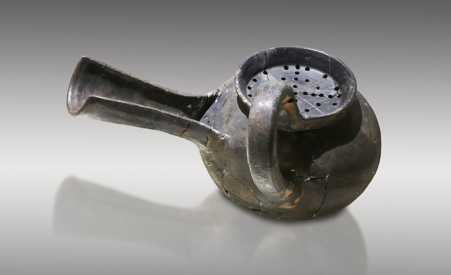 Phrygian grey ceramic vessel with a strainer and long spout from Gordion. Phrygian Collection, 8th-7th century BC - Museum of Anatolian Civilisations Ankara. Turkey.