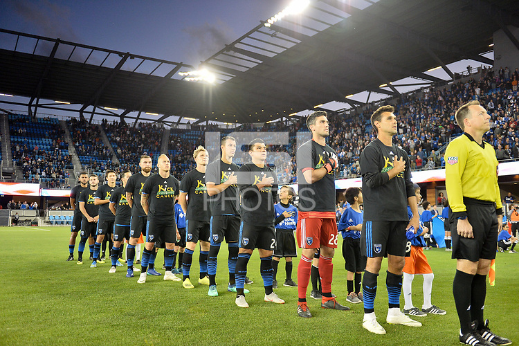 San Jose, CA - Saturday September 15, 2018: San Jose Earthquakes , Chris Wondolowski, national anthem prior to a Major League Soccer (MLS) match between the San Jose Earthquakes and Sporting Kansas City at Avaya Stadium.