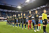 San Jose, CA - Saturday September 15, 2018: San Jose Earthquakes , Chris Wondolowski, national anthem prior to a Major League Soccer (MLS) match between the San Jose Earthquakes and Sporting Kansas City at Avaya Stadium.