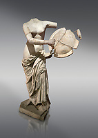 Roman statue of Aphrodite holding a shield. Marble. Perge. 2nd century AD . Antalya Archaeology Museum; Turkey.