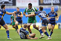 Aseli Tikoirotuma of London Irish takes on the London Irish defence. Aviva Premiership match, between London Irish and Worcester Warriors on February 7, 2016 at the Madejski Stadium in Reading, England. Photo by: Patrick Khachfe / JMP