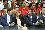 King Felipe VI of Spain (r) and María Soraya Sáenz de Santamaría, Minister of the Presidency during basketball friendly match Spain-Argentina.August 25,2014.(ALTERPHOTOS/Acero)