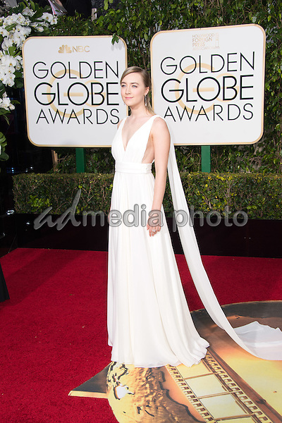 "Nominated for BEST PERFORMANCE BY AN ACTRESS IN A MOTION PICTURE – DRAMA for her role in ""Brooklyn,"" actress Saoirse Ronan attends the 73rd Annual Golden Globe Awards at the Beverly Hilton in Beverly Hills, CA on Sunday, January 10, 2016. Photo Credit: HFPA/AdMedia"