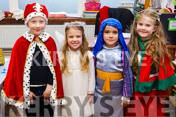"""1st class in Moyderwell getting ready for their """"Children of the World"""" Christmas  play on Wednesday morning. L-r Dee Hanly, Caoimhe Sommers, Kyle Burn and Roisin Currans."""