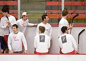 Corey Trivino (BU - 10), Nick Bonino (BU - 13), Sean Escobedo (BU - 21), Adam Kraus (BU - 32), Vinny Saponari (BU - 27), Luke Popko (BU - 26), Andrew Glass (BU - 14) - The Boston University Terriers defeated the Harvard University Crimson 6-5 in overtime on Tuesday, November 24, 2009, at Bright Hockey Center in Cambridge, Massachusetts.