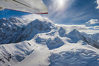 Mountaineers trail visible from the air on the West Buttress ridge of Denali, Denali National Park, Alaska