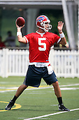 July 26th 2008:  Quarterback Trent Edwards (5) of the Buffalo Bills throws a pass during the second day of training camp at St. John Fisher College in Rochester, NY.  Photo Copyright Mike Janes Photography 2008.