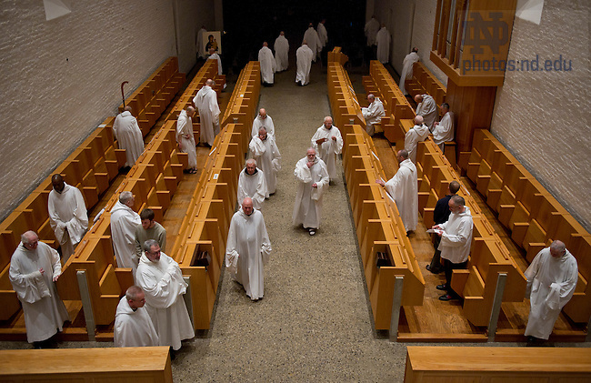 January 15, 2012; Trappist monks leave the church after Vespers. The University of Notre Dame Folk Choir held a concert for the Monastic and local community during their 2012 retreat at The Abbey of Gethsemani, Trappist, Kentucky. Photo by Barbara Johnston/University of Notre Dame