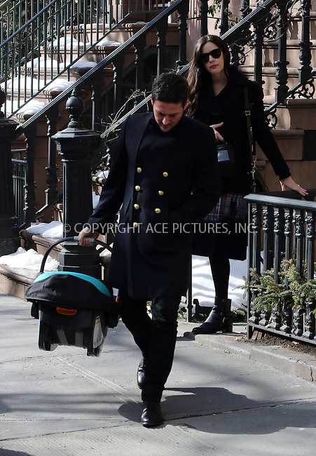 WWW.ACEPIXS.COM<br /> <br /> February 23 2015, New York City<br /> <br /> Liv Tyler and Dave Gardner leave her West Village brownstone with a baby seat, possibly to pick up their son from hospital on February 23 2015 in New York City<br /> <br /> By Line: Zelig Shaul/ACE Pictures<br /> <br /> <br /> ACE Pictures, Inc.<br /> tel: 646 769 0430<br /> Email: info@acepixs.com<br /> www.acepixs.com
