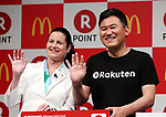 May 26, 2017, Tokyo, Japan - Japan's online commerce giant Rakuten president Hiroshi Mikitani smiles with McDonald's Japan president Sarah Casanova as they announce that Rakuten's point service can be used at McDonald's restaurants in Japan from June 1 at a press conference in Tokyo on Friday, May 26, 2017.   (Photo by Yoshio Tsunoda/AFLO) LwX -ytd-