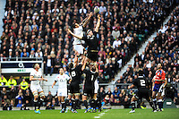 Courtney Lawes of England outjumps Brodie Retallick of New Zealand in the lineout during the QBE Autumn International match between England and New Zealand at Twickenham on Saturday 16th November 2013 (Photo by Rob Munro)