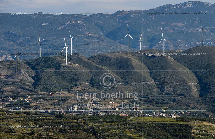 TURKEY, Samandag near Antakya, 35 MW windfarm with Nordex wind turbines  / TUERKEI, Samandag bei Antakya, 35 MW Windpark, Nordex Windkraftanlagen im Orontes Tal