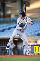 Mobile BayBears second baseman Hutton Moyer (11) at bat during a game against the Mississippi Braves on May 7, 2018 at Trustmark Park in Pearl, Mississippi.  Mobile defeated Mississippi 5-0.  (Mike Janes/Four Seam Images)
