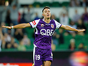 2nd February 2019, HBF Park, Perth, Australia; A League football, Perth Glory versus Wellington Phoenix; Christopher Ikonomidis of the Perth Glory celebrates his goal in the 35th minute to give Glory a 2-0 lead