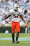 06 October 2007: Miami's Tavares Gooden. The University of North Carolina Tar Heels defeated the University of Miami Hurricanes 33-27 at Kenan Stadium in Chapel Hill, North Carolina in an Atlantic Coast Conference NCAA College Football Division I game.