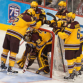 Brady Skjei (MN - 2), Hudson Fasching (MN - 24), Nate Condon (MN - 16), Jake Parenteau (MN - 6), Adam Wilcox (MN - 32) - The University of Minnesota Golden Gophers defeated the University of North Dakota 2-1 on Thursday, April 10, 2014, at the Wells Fargo Center in Philadelphia to advance to the Frozen Four final.