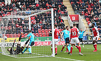 Ashley Eastham of Fleetwood Town scores his sides first goal during the Sky Bet League 1 match between Rotherham United and Fleetwood Town at the New York Stadium, Rotherham, England on 7 April 2018. Photo by Leila Coker.