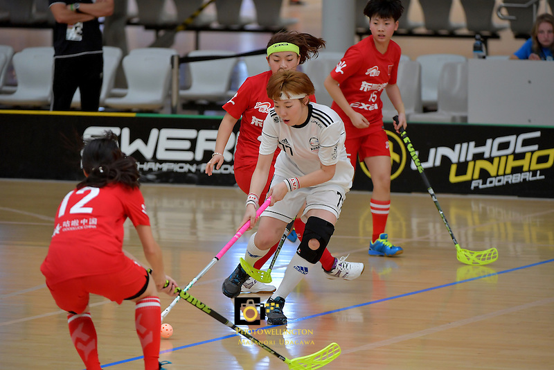 Korea's Yejin Shim in action during the World Floorball Championships 2017 Qualification for Asia Oceania Region - Korea v China at ASB Sports Centre , Wellington, New Zealand on Saturday 4 February 2017.<br /> Photo by Masanori Udagawa<br /> www.photowellington.photoshelter.com.