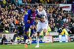 Nelson Cabral Semedo of FC Barcelona (L) fights for the ball with Diego Perotti of AS Roma (R) during the UEFA Champions League 2017-18 quarter-finals (1st leg) match between FC Barcelona and AS Roma at Camp Nou on 05 April 2018 in Barcelona, Spain. Photo by Vicens Gimenez / Power Sport Images