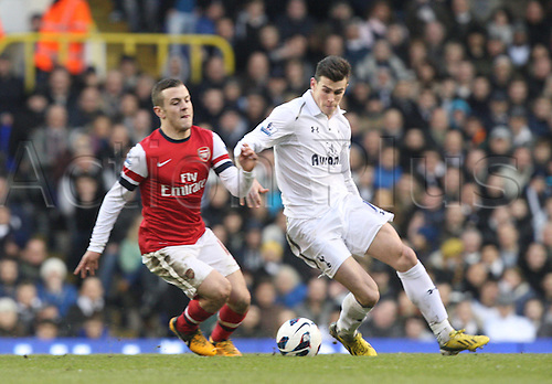 03.03.2013. London, England. Jack Wilshere of Arsenal and Gareth Bale of Tottenham Hotspur during Premier League game between Tottenham Hotspur and Arsenal from White Hart Lane