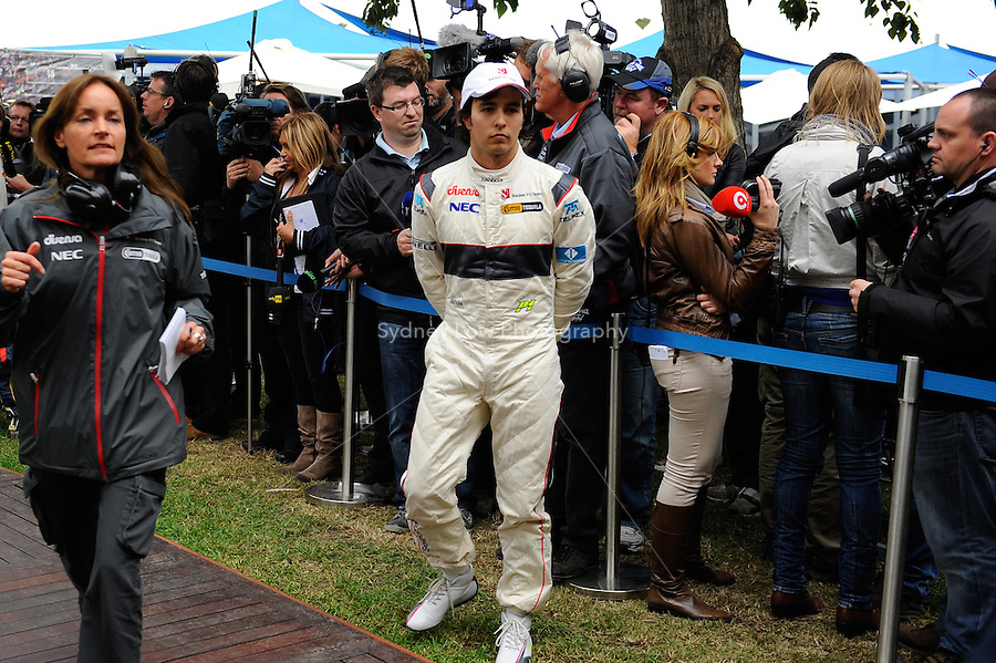 MELBOURNE, 26 MARCH - Sergio Perez Mendoza (Mexico) from the Sauber F1 Team gives interviews after his qualifying session of the 2011 Formula One Australian Grand Prix at the Albert Park Circuit, Melbourne, Australia. (Photo Sydney Low / syd-low.com)