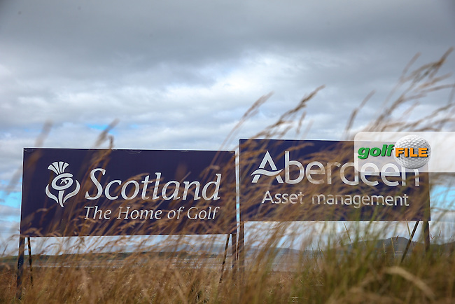Sponsor boards  during the First Round of the 2016 Aberdeen Asset Management Scottish Open, played at Castle Stuart Golf Club, Inverness, Scotland. 07/07/2016. Picture: David Lloyd | Golffile.<br /> <br /> All photos usage must carry mandatory copyright credit (&copy; Golffile | David Lloyd)