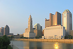 Evening view of the Columbus, Ohio skyline and Scioto River.