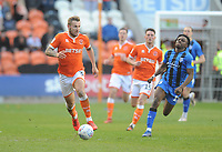 Blackpool's Nick Anderton under pressure from Gillingham's Regan Charles-Cook<br /> <br /> Photographer Kevin Barnes/CameraSport<br /> <br /> The EFL Sky Bet League One - Blackpool v Gillingham - Saturday 4th May 2019 - Bloomfield Road - Blackpool<br /> <br /> World Copyright © 2019 CameraSport. All rights reserved. 43 Linden Ave. Countesthorpe. Leicester. England. LE8 5PG - Tel: +44 (0) 116 277 4147 - admin@camerasport.com - www.camerasport.com
