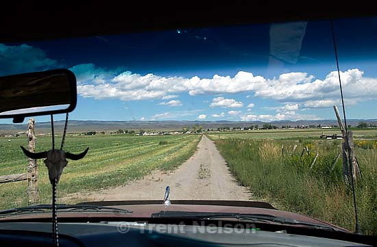 looking out a cowboy's windshield<br />
