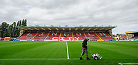 Lincoln City head groundsman Phil Kime paints the white lines ahead of the game<br /> <br /> Photographer Chris Vaughan/CameraSport<br /> <br /> The EFL Sky Bet League One - Lincoln City v Morecambe - Saturday August 12th 2017 - Sincil Bank - Lincoln<br /> <br /> World Copyright &copy; 2017 CameraSport. All rights reserved. 43 Linden Ave. Countesthorpe. Leicester. England. LE8 5PG - Tel: +44 (0) 116 277 4147 - admin@camerasport.com - www.camerasport.com