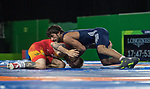Wales Kane Charig in action during the Final of the Men's Freestyle 65 kg Wrestling <br /> <br /> *This image must be credited to Ian Cook Sportingwales and can only be used in conjunction with this event only*<br /> <br /> 21st Commonwealth Games - Wrestling  - Final -  Day 9 - 13\04\2018 - Carrara Sport and Leisure Centre - Gold Coast City - Australia