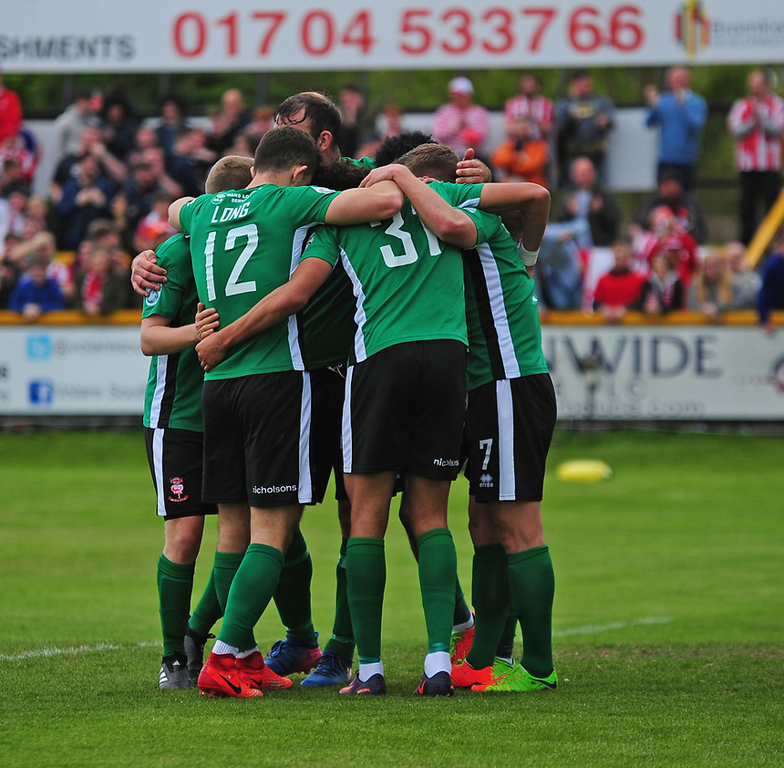 Lincoln City's Lee Angol celebrates scoring the opening goal with team mates<br /> <br /> Photographer Andrew Vaughan/CameraSport<br /> <br /> Vanarama National League - Southport v Lincoln City - Saturday 29th April 2017 - Merseyrail Community Stadium - Southport<br /> <br /> World Copyright &copy; 2017 CameraSport. All rights reserved. 43 Linden Ave. Countesthorpe. Leicester. England. LE8 5PG - Tel: +44 (0) 116 277 4147 - admin@camerasport.com - www.camerasport.com