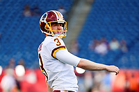August 9, 2018: Washington Redskins kicker Dustin Hopkins (3) warms up prior to the NFL pre-season football game between the Washington Redskins and the New England Patriots at Gillette Stadium, in Foxborough, Massachusetts.The Patriots defeat the Redskins 26-17. Eric Canha/CSM