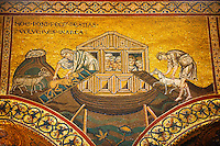 Byzantine mosaics in the Cathedral of Monreale - Noah letting the animals out - Palermo - Sicily Pictures, photos, images & fotos photography
