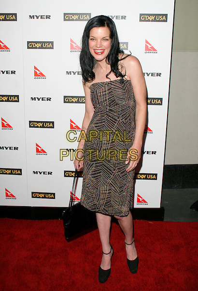 PAULEY PERRETTE.Attending the 2010 G'Day USA Australia Week Black Tie Gala held at the Hollywood & Highland Grand Ballroom, Hollywood, California, USA, .16th January 2010. .arrivals full length strapless brown print pattern strapless dress black shoes bag ankle strap      .CAP/RKE/DVS .©DVS/RockinExposures/Capital Pictures