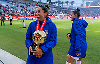 CARSON, CA - FEBRUARY 9: Christen Press #20 of the United States laughs during a game between Canada and USWNT at Dignity Health Sports Park on February 9, 2020 in Carson, California.