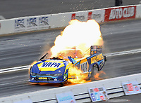 Feb 9, 2020; Pomona, CA, USA; NHRA funny car driver Ron Capps explodes an engine on fire during the Winternationals at Auto Club Raceway at Pomona. Capps was unhurt. Mandatory Credit: Mark J. Rebilas-USA TODAY Sports