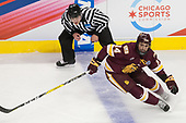 Kevin Briganti, Alex Iafallo (UMD - 14) - The University of Denver Pioneers defeated the University of Minnesota Duluth Bulldogs 3-2 to win the national championship on Saturday, April 8, 2017, at the United Center in Chicago, Illinois.