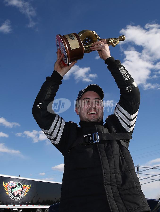 Feb. 24, 2013; Chandler, AZ, USA; NHRA top sportsman driver J.R. Lobner celebrates after winning the Arizona Nationals at Firebird International Raceway. Mandatory Credit: Mark J. Rebilas-