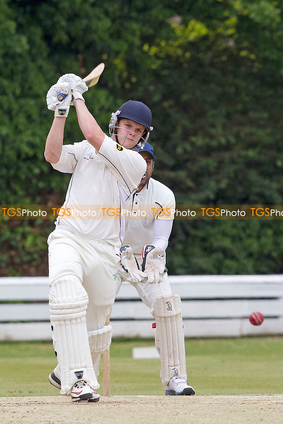 Lewis Lockyer of Orsett drives- Chingford CC vs Orsett CC - Essex Cricket League at Forest Side - 02/06/12 - MANDATORY CREDIT: Ray Lawrence/TGSPHOTO - Self billing applies where appropriate - 0845 094 6026 - contact@tgsphoto.co.uk - NO UNPAID USE.