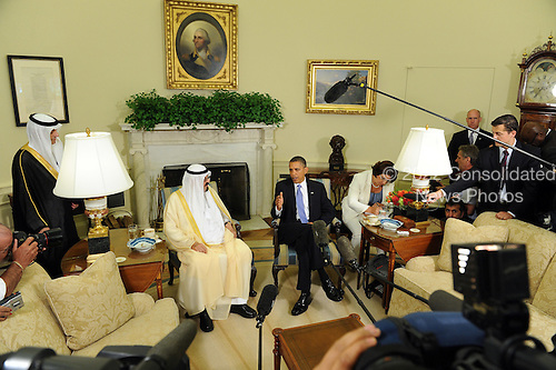 United States President Barack Obama and King Abdullah bin Abdul Aziz al Saud of Saudi Arabia speak to the media after their meeting in the Oval Office of the White House in Washington on Tuesday, June 29, 2010.   .Credit: Roger L. Wollenberg - Pool via CNP