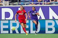 Orlando, FL - Sunday June 26, 2016: Katherine Reynolds, Christina Burkenroad  during a regular season National Women's Soccer League (NWSL) match between the Orlando Pride and the Portland Thorns FC at Camping World Stadium.