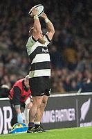 Twickenham, Surrey. England.   Baa Baa' Hooker Akker van der MERWE, throw's the line out ball, during the Killik Cup, Barbarians vs New Zealand. Twickenham. UK<br /> <br /> Saturday  04.11.17<br /> <br /> [Mandatory Credit Peter SPURRIER/Intersport Images]