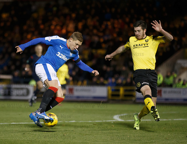 Martyn Waghorn dancing in the box with Declan Gallagher