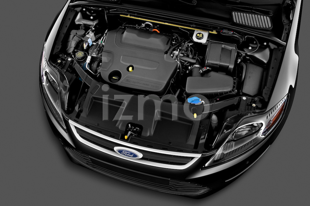 High angle engine detail of 2011 Ford Mondeo Trend Wagon Stock Photo