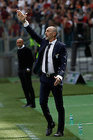 Calcio, Serie A: Lazio vs Roma. Roma, stadio Olimpico, 3 aprile 2016.<br /> Lazio coach Stefano Pioli gives indications to his players during the Italian Serie A football match between Lazio and Roma at Rome's Olympic stadium, 3 April 2016.<br /> UPDATE IMAGES PRESS/Isabella Bonotto