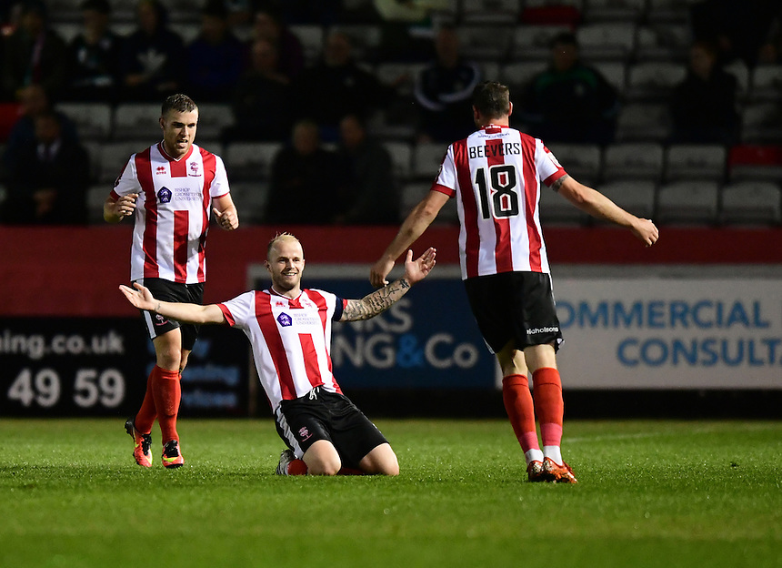 Lincoln City's Bradley Wood, centre, celebrates scoring his sides sixth goal <br /> <br /> Photographer Chris Vaughan/CameraSport<br /> <br /> Football - Vanarama National League - Lincoln City v North Ferriby United - Tuesday 9th August 2016 - Sincil Bank - Lincoln<br /> <br /> &copy; CameraSport - 43 Linden Ave. Countesthorpe. Leicester. England. LE8 5PG - Tel: +44 (0) 116 277 4147 - admin@camerasport.com - www.camerasport.com