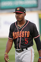 Kyle Lewis (5) of the Modesto Nuts before a game against the Rancho Cucamonga Quakes at LoanMart Field on August 1, 2017 in Rancho Cucamonga, California. Rancho Cucamonga defeated Modesto, 2-1. (Larry Goren/Four Seam Images)