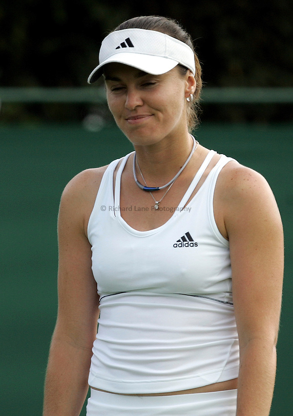 Photo: Paul Thomas..Wimbledon Championships. 27/06/2007...Martina Hingis (SUI) during her match against Aiko Nakamura of Japan.